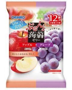 オリヒロ ぷるんと蒟蒻ゼリー パウチ アップル+グレープ (20g×12個)