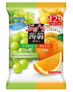 オリヒロ ぷるんと蒟蒻ゼリー パウチ マスカット+オレンジ (20g×12個入)