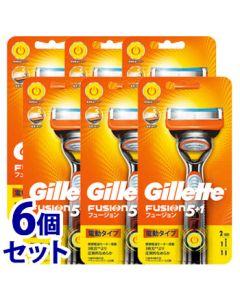 《セット販売》P&Gジレットフュージョン5+1パワーホルダー替刃2個付(1個)×6個セット3枚刃カミソリ髭剃り電動タイプ【P&G】