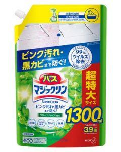 花王 バスマジックリン 泡立ちスプレー スーパークリーン グリーンハーブ つめかえ大容量 (1300mL) 詰め替え用 浴室用洗剤