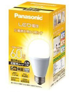 パナソニック LED電球 7.3W 温白色相当 E26口金 LDA7WWGEW1 (1個) 広配光タイプ