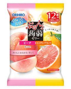 オリヒロ ぷるんと蒟蒻ゼリー パウチ ピーチ+ピンクグレープフルーツ (20g×12個) こんにゃくゼリー