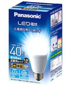 パナソニック LED電球 E26口金 一般電球 LDA4DGEW (1個) 昼光色 広配光 40形相当