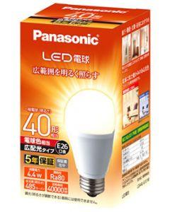 パナソニック LED電球 E26口金 一般電球 LDA4LGEW (1個) 電球色 広配光 40形相当