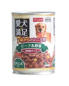 エムズワン 愛犬満足 7歳からのシニア用 ビーフ&野菜 低脂肪タイプ ドッグフード (375g)