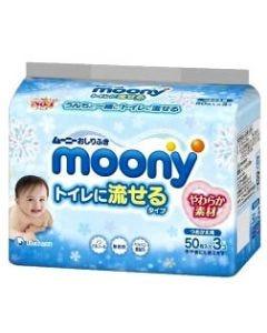 【☆】 ユニチャーム ムーニー おしりふき トイレに流せるタイプ つめかえ用 (50枚×3コ) 詰め替え用