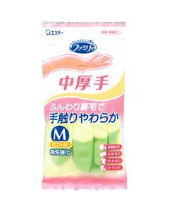 【◇】 エステー ファミリー ビニール 中厚手 指先強化 Mサイズ グリーン (1双) 作業用手袋