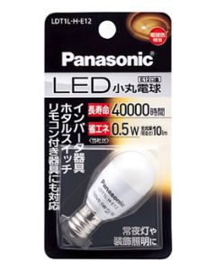 パナソニック LED電球 小丸電球T形 0.5W 電球色相当 E12口金 LDT1LHE12 (1個)