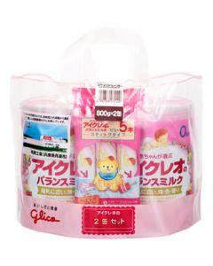 グリコ アイクレオ アイクレオのバランスミルク 0ヶ月から (800g×2缶セット) スティックタイプ5本付き 粉ミルク ※軽減税率対象商品
