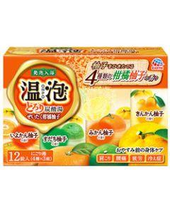アース製薬 温泡 ONPO とろり炭酸湯 ぜいたく柑橘柚子 4種×3錠 (45g×12錠) 入浴剤 【医薬部外品】