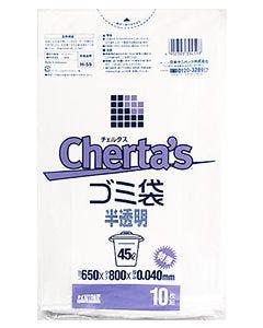 日本サニパック チェルタス ゴミ袋 45L 厚口 半透明 H-59 (10枚入)