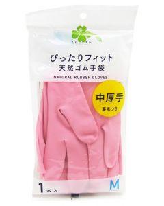 くらしリズム ダンロップ 天然ゴム手袋 中厚手 裏毛つき Mサイズ ピンク (1双入) ぴったりフィット