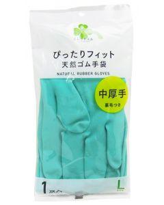 くらしリズム ダンロップ 天然ゴム手袋 中厚手 裏毛つき Lサイズ グリーン (1双入) ぴったりフィット
