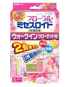白元アース フローラルミセスロイド ウォークインクローゼット用 1年間有効 フローラルブーケの香り (3個) 防虫剤