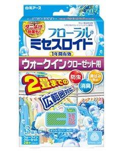 白元アース フローラルミセスロイド ウォークインクローゼット用 1年 ホワイトアロマソープの香り (3個) 防虫剤