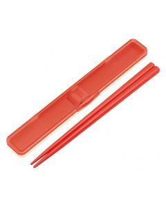 スケーター 音の鳴らない箸・箸箱セット レトロフレンチ オレンジレッド ABC3 (1セット)