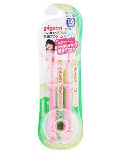 ピジョン 乳歯ブラシ レッスン段階4 ピンク (2本) ベビー用ハブラシ 1才6ヵ月頃から