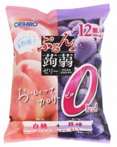 オリヒロ ぷるんと蒟蒻ゼリー パウチ カロリーゼロ 白桃+巨峰 (18g×12個)  ※軽減税率対象商品