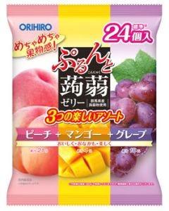 【☆】 オリヒロ ぷるんと蒟蒻ゼリー ピーチ+マンゴー+グレープ (20g×24個) こんにゃくゼリー ※軽減税率対象商品