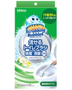 【特売セール】 ジョンソン スクラビングバブル 流せるトイレブラシ 除菌消臭プラス ホワイトブロッサム 本体 (1セット) トイレ用洗浄ブラシ