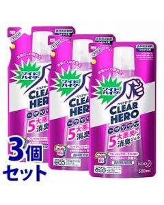 【特売セール】 《セット販売》 花王 ワイドハイター クリアヒーロー 消臭ジェル フレッシュフローラルの香り つめかえ用 (500mL)×3個セット 詰め替え用 CLEAR HERO 衣料用消臭剤