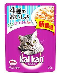 【特売セール】 マースジャパン カルカン パウチ 1歳から 4種のおいしさ まぐろ・たい・白身魚・さけ入り (70g) キャットフード