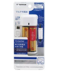 多摩電子工業 電池4本交換式チャージャー ホワイト TD36SW (1個) 乾電池チャージャー