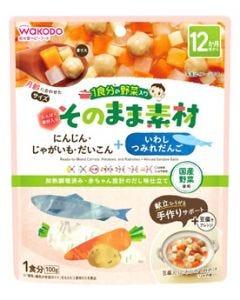 和光堂 1食分の野菜入り そのまま素材 +いわしつみれだんご (100g) 12か月頃から ベビーフード ※軽減税率対象商品