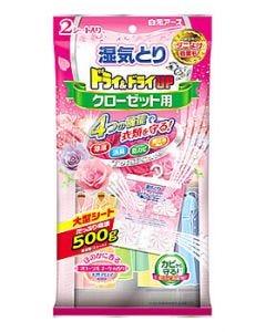 白元アース ドライ&ドライUP クローゼット用 フローラルブーケの香り (2シート) 衣類用湿気とり 防虫剤