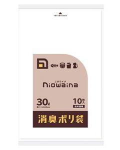 日本サニパック ニオワイナ 消臭ポリ袋 30L 白半透明 SS30 (10枚) ゴミ袋