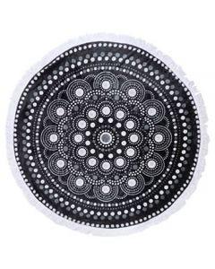 マイクロファイバーラウンドケット A 曼荼羅ドット柄 (1枚) ひざ掛け ブランケット